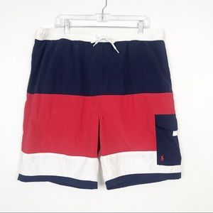 Polo Ralph Lauren Navy/Red/White Stripe Swim Trunk